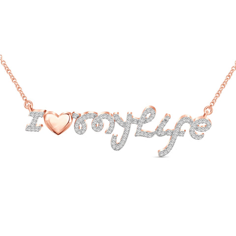 "JewelersClub 1/4 Ctw White Diamond Rose Gold over Silver ""I Love My Life"" Pendant"