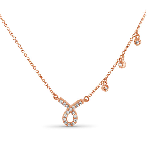 JewelersClub 1/4 Ctw White Diamond Rose Gold over Silver Ribbon Shaped Necklace