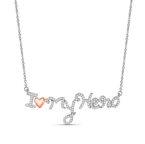 "JewelersClub 1/4 Ctw White Diamond Two-Tone Sterling Silver ""I Love My Hero"" Pendant"