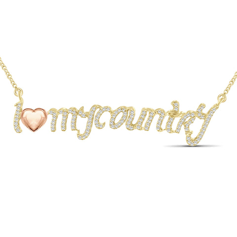 "JewelersClub 1/4 Ctw White Diamond Two Tone Sterling Silver ""I Love My Country"" Pendant"