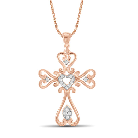 JewelersClub 1/7 Carat T.W. White Diamond Rose Gold Over Silver Cross Pendant