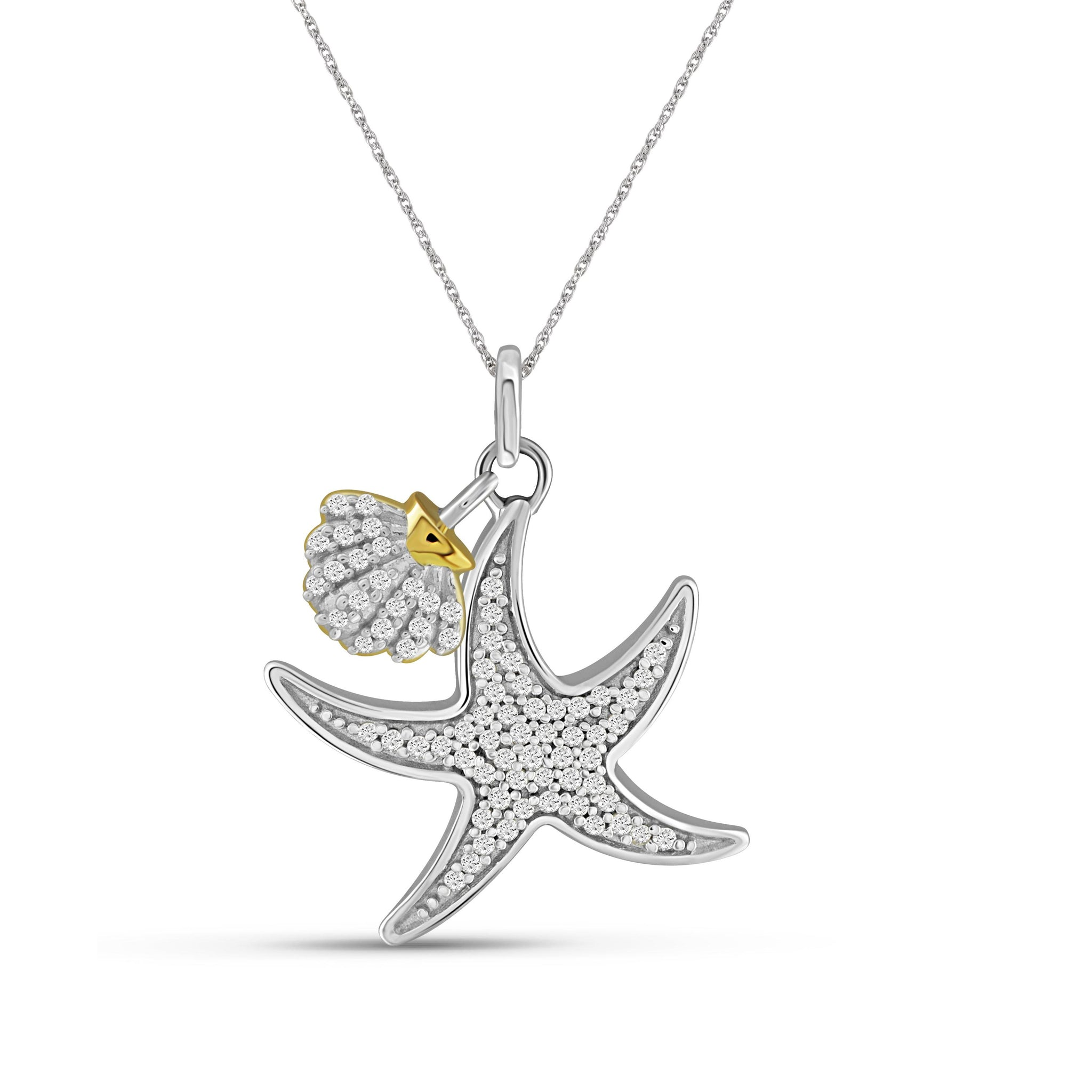 JewelonFire 1/5 Carat T.W. White Diamond Two Tone Silver Seashell Starfish Pendant