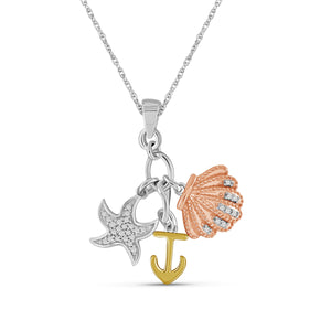 JewelersClub 1/10 Carat T.W. White Diamond Three Tone Silver Starfish, Anchor & Seashell Pendant