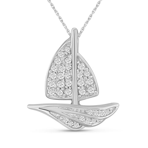 JewelersClub 1/5 Carat T.W. White Diamond Sterling Silver SailBoat Pendant - Assorted Colors