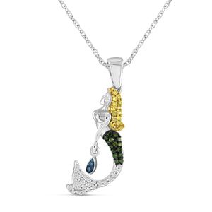 JewelonFire 1/5 Carat T.W. Multicolor Diamond Sterling Silver Mermaid Pendant