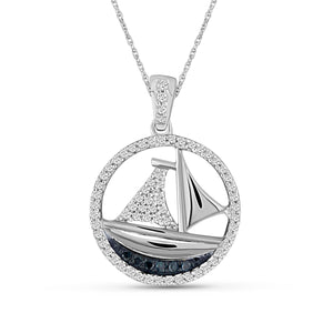 JewelersClub 1/4 Carat T.W. Blue And White Diamond Sterling Silver SailBoat Pendant