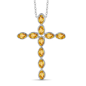 JewelonFire 2 1/5 Carat T.G.W. Citrine Sterling Silver Cross Pendant - Assorted Colors