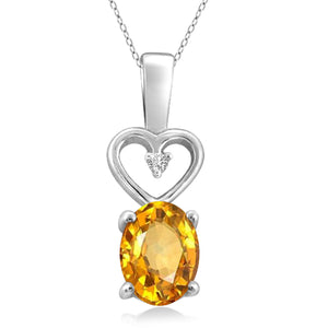 JewelonFire 1.00 Carat T.G.W. Citrine And White Diamond Accent Sterling Silver Pendant - Assorted Colors