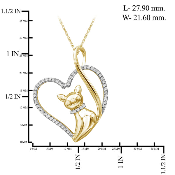 JewelonFire 1/7 Ctw White Diamond 14K Gold over Silver Cat Heart Pendant