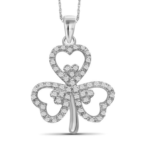 JewelonFire 1/5 Carat T.W. White Diamond Shamrock Sterling Silver Pendant - Assorted Colors