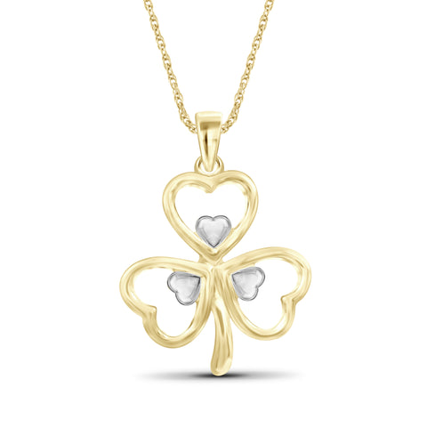 JewelersClub Shamrock Two Tone Sterling Silver Pendant