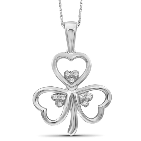 JewelonFire 1/20 Carat T.W. White Diamond Clover Sterling Silver Pendant - Assorted Colors