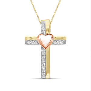 JewelonFire 1/10 Ctw White Diamond Heart Cross Pendant in Two-Tone Sterling Silver
