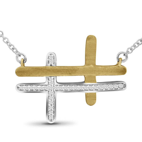 JewelonFire 1/10 Ctw White Diamond Two-Tone Sterling Silver Cross Pendant