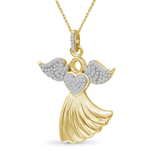 JewelersClub 1/4 Ctw White Diamond Angel Pendant in Sterling Silver - Assorted Finish