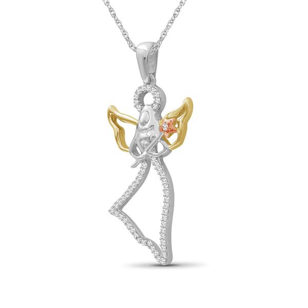 JewelersClub 1/7 Ctw White Diamond Angel Pendant in Tri-Tone Sterling Silver