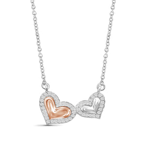 JewelersClub 1/10 Ctw White Diamond Double Heart Necklace in Two-Tone Sterling Silver