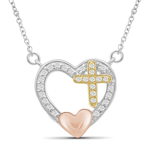 JewelonFire 1/7 Carat T.W. White Diamond Three Tone Silver Cross In Heart Pendant