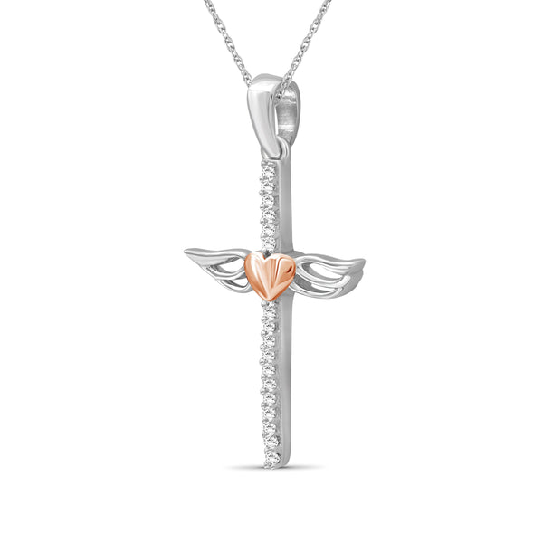 JewelersClub 1/20 Ctw White Diamond Cross Pendant in Two-Tone Sterling Silver