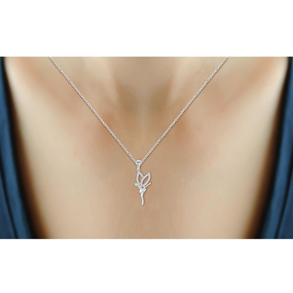 JewelonFire 1/10 Ctw White Diamond Angel Necklace in Two Tone Sterling Silver