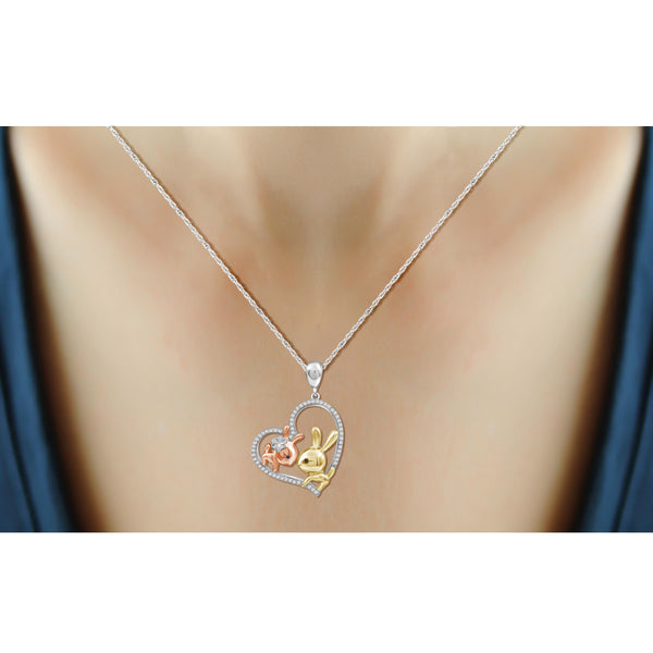 JewelonFire 1/7 Ctw Multi Color Diamond Tri-Tone Sterling Silver Bunny Baby & Mom Heart Pendant