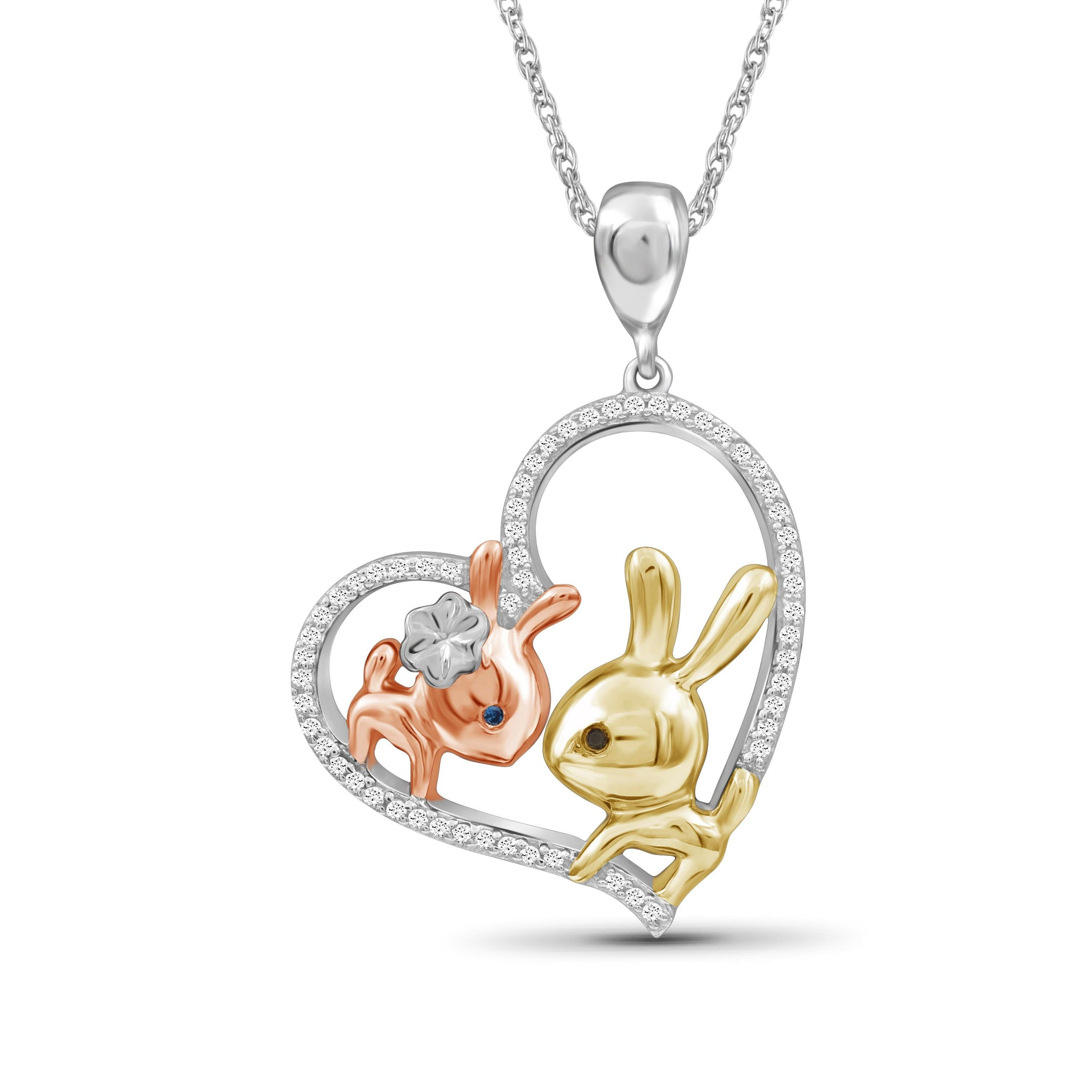 JewelersClub 1/7 Ctw Multi Color Diamond Tri-Tone Sterling Silver Bunny Baby & Mom Heart Pendant