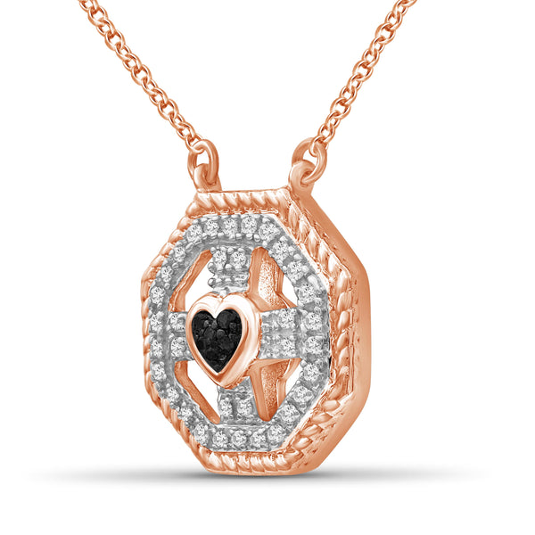 JewelonFire 1/10 Carat T.W. Black And White Diamond Rose Gold Over Silver Heart Octagon Pendant