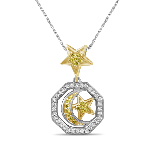 JewelonFire 1/7 Carat T.W. Yellow And White Diamond Two Tone Silver Star & Moon Octagon Pendant