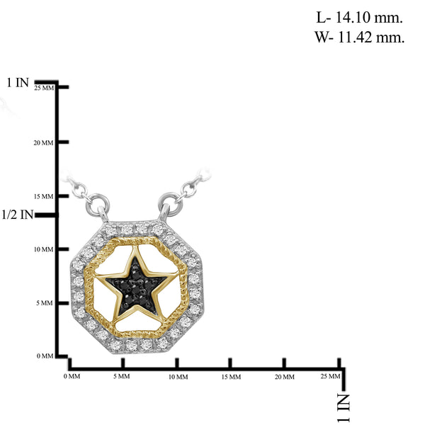 JewelonFire 1/10 Carat T.W. Black And White Diamond Two Tone Silver Star Octagon Pendant