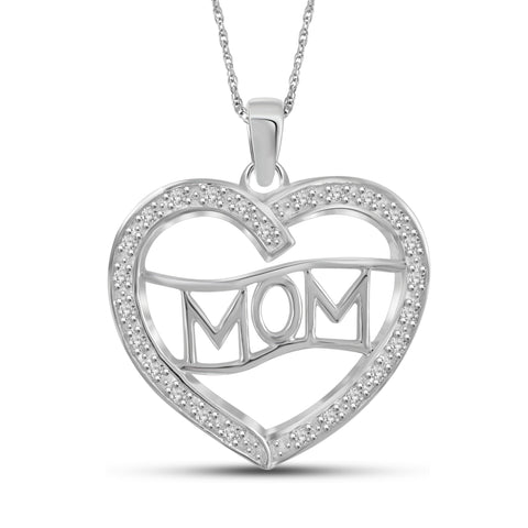 JewelonFire White Diamond Accent Sterling Silver Mom Heart Pendant - Assorted Colors