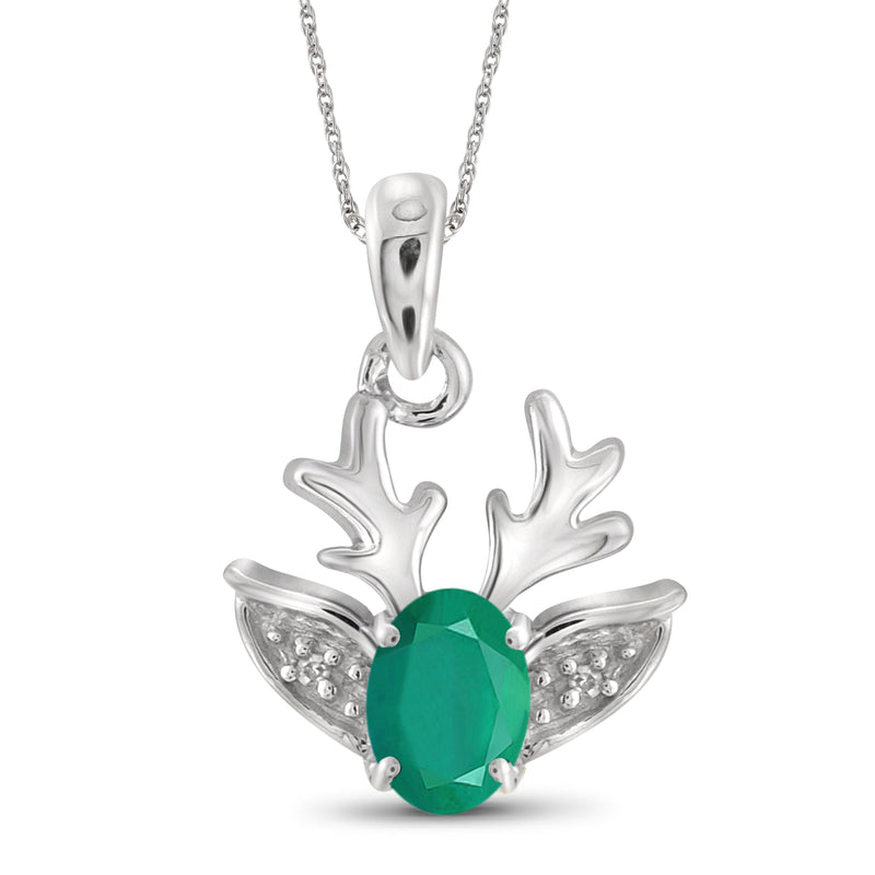 JewelersClub 0.40 Carat T.G.W. Genuine Emerald and Accent White Diamond Sterling Silver Reindeer Pendant - Assorted Colors