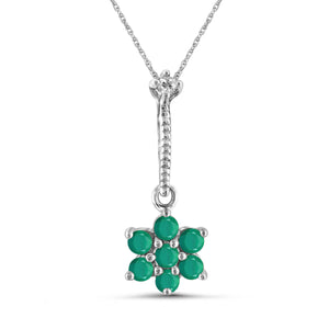JewelonFire 0.50 Carat T.G.W. Genuine Emerald and Accent White Diamond Sterling Silver Flower Pendant - Assorted Colors