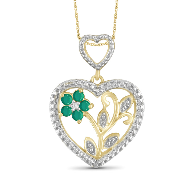 JewelersClub 0.30 Carat T.G.W. Genuine Emerald and Accent White Diamond Sterling Silver Heart Pendant - Assorted Colors