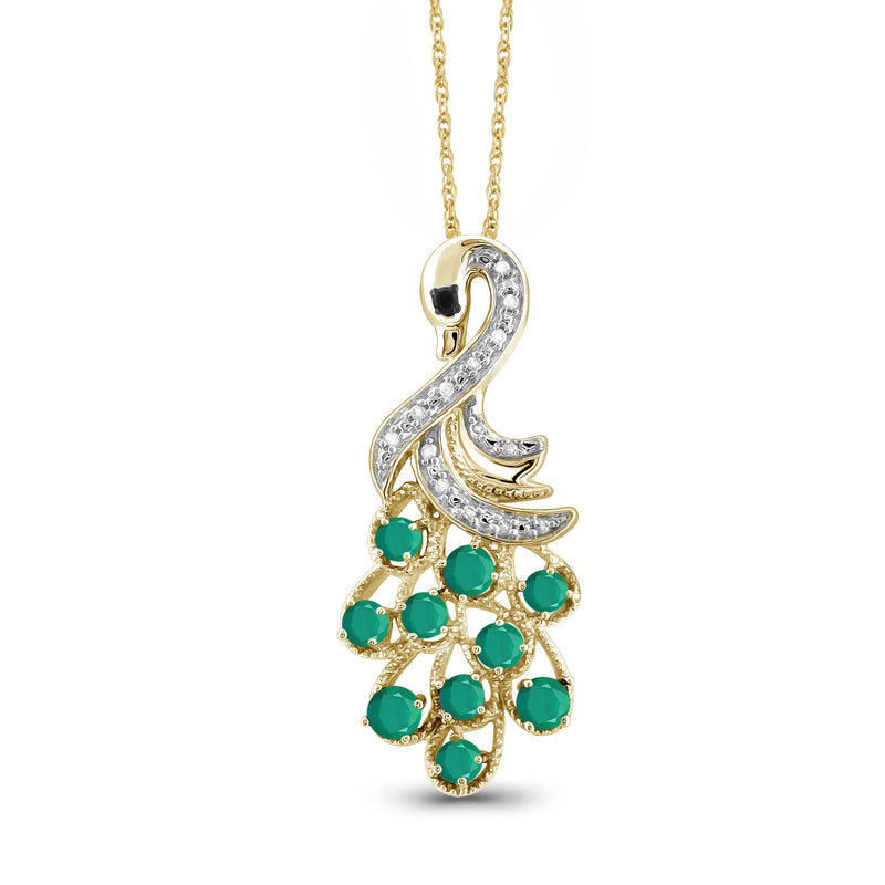 JewelersClub 0.60 Carat T.G.W. Emerald And 1/20 Carat T.W. Black & White Diamond Sterling Silver Peacock Pendant - Assorted Colors
