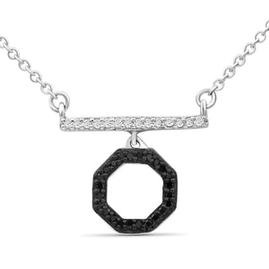 JewelonFire 1/10 Carat T.W. Black And White Diamond Sterling Silver Octagon Necklace - Assorted Colors