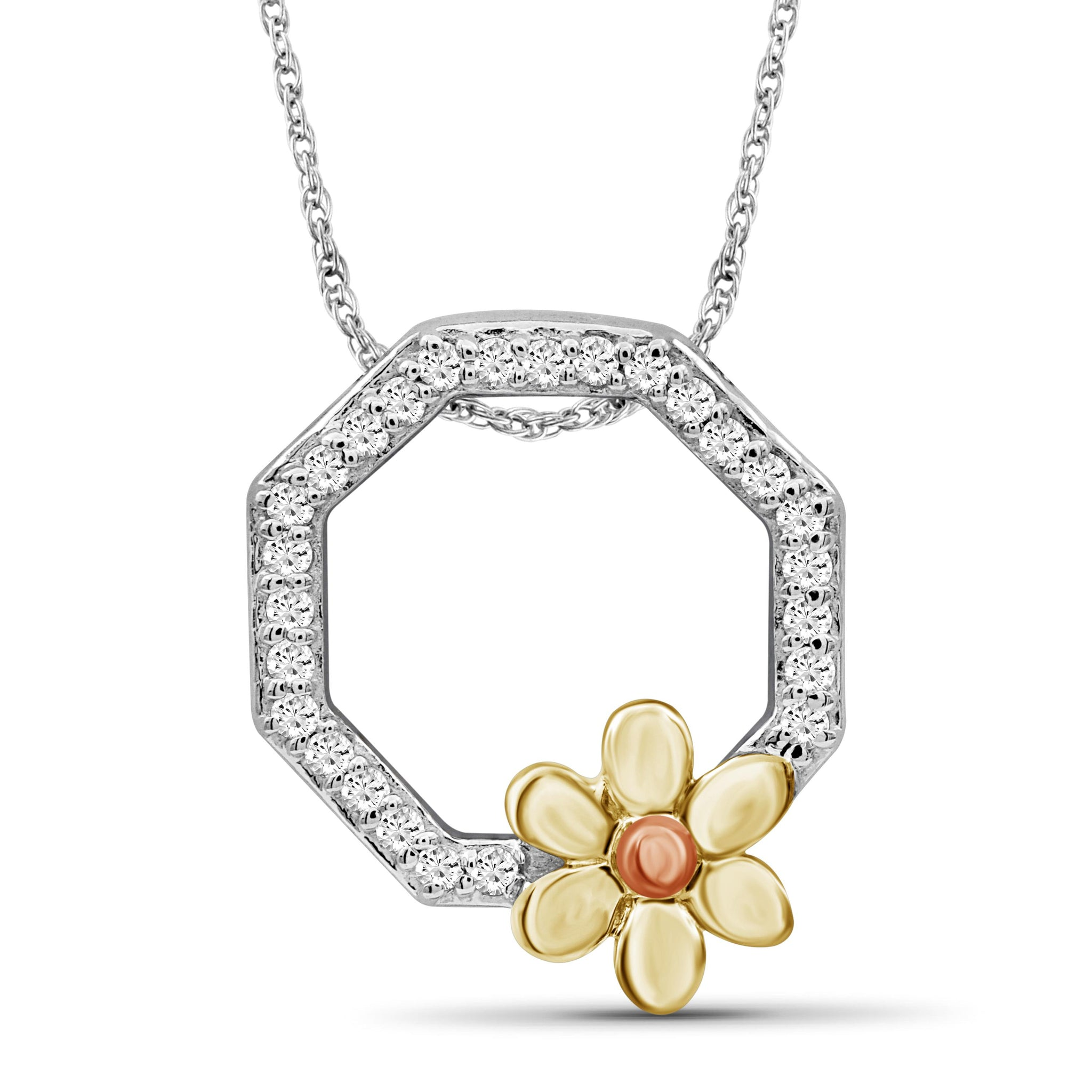JewelonFire 1/10 Carat T.W. White Diamond Three Tone Sterling Silver Flower Octagon Pendant