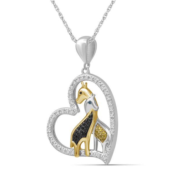 JewelonFire 1/5 Ctw Multi Color Diamond Two-Tone Sterling Silver Giraffes Heart Pendant
