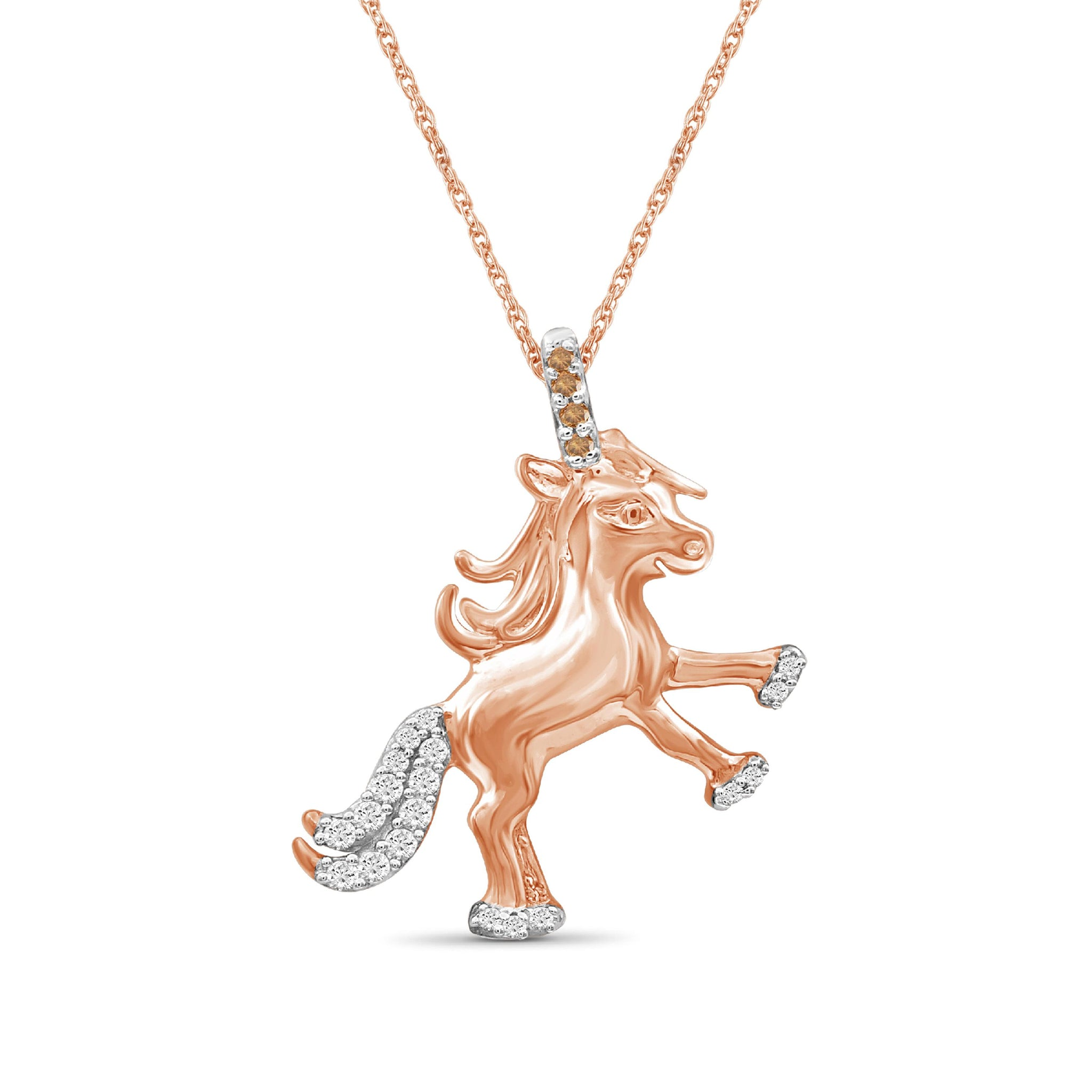JewelonFire 1/10 Ctw Champagne & White Diamond Rose Gold over Silver Unicorn Pendant