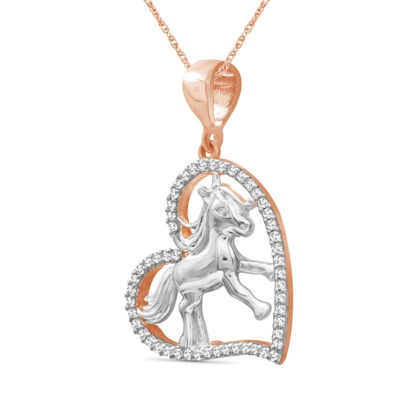 JewelonFire 1/7 Ctw White Diamond Two-Tone Sterling Silver Horse Pendant