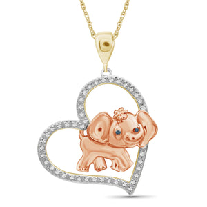 JewelersClub 1/10 Ctw Blue & White Diamond Two-Tone Silver Elephant Heart Pendant
