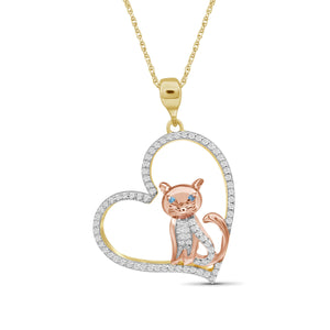 JewelersClub 1/4 Ctw Blue & White Diamond Two-Tone Sterling Silver Cat Heart Pendant