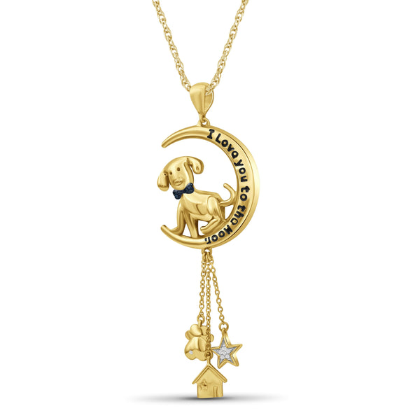 JewelonFire 1/20 Ctw Multi Color Diamond 14K Gold over Silver Moon Dog Pendant