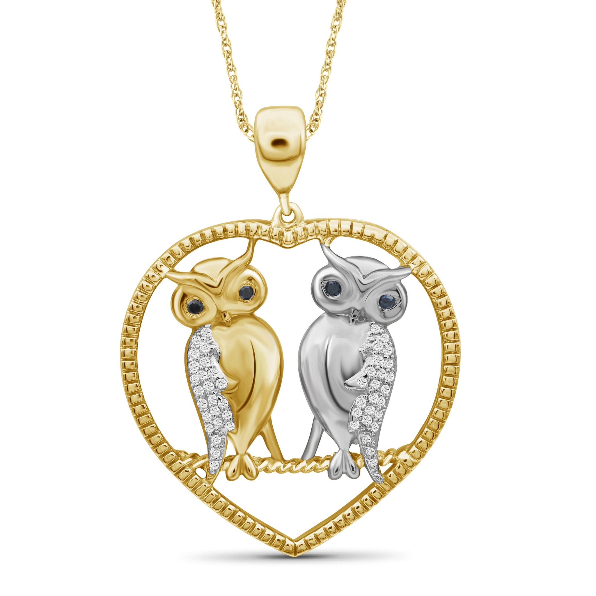 JewelersClub 1/7 Ctw Multi Color Diamond Two Tone Sterling Silver Owl Heart Pendant