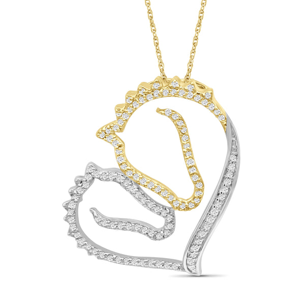 JewelersClub 1/3 Ctw White Diamond Two-Tone Sterling Silver Horse Pendant
