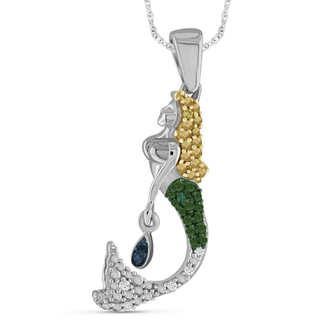 JewelonFire 1/20 Carat T.W. Multicolor Diamond Sterling Silver Mermaid Pendant