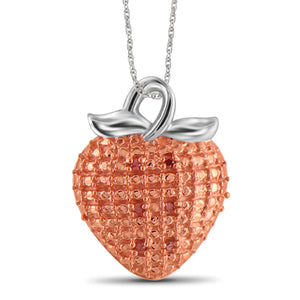 JewelonFire 1/20 Carat T.W. Red Diamond Sterling Silver Strawberry Pendant