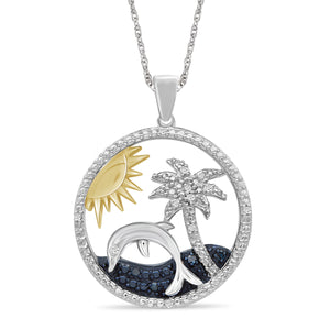 JewelonFire 1/20 Carat T.W. Blue And White Diamond Two-Tone Sterling Silver Beach Pendant