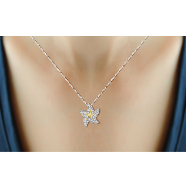 JewelersClub 1/10 Carat T.W. White Diamond Star Fish Pendant in Two-Tone Sterling Silver