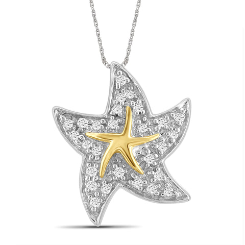 JewelonFire 1/10 Carat T.W. White Diamond Star Fish Pendant in Two-Tone Sterling Silver