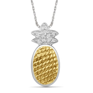 JewelersClub 1/20 Carat T.W. White Diamond Two Tone Sterling Silver Pineapple Pendant